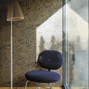 contemporary wallpaper / patterned / metallic look / golden