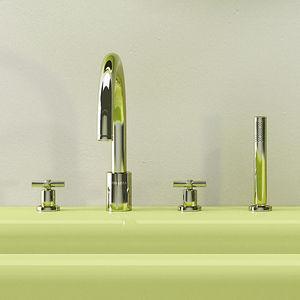 double-handle bathtub mixer tap / built-in / nickel / bathroom