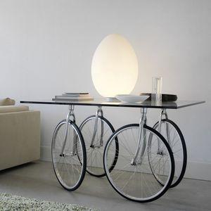 original design table / stainless steel / glass / metal base