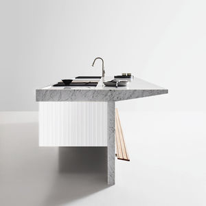contemporary kitchen / wooden / marble / stainless steel