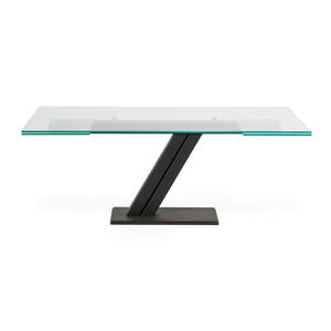 contemporary table / tempered glass / smoked glass / lacquered metal steel base