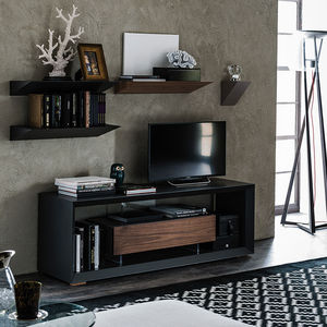 contemporary TV cabinet / lowboard / walnut