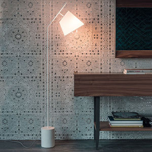 floor-standing lamp / contemporary / painted steel / cement