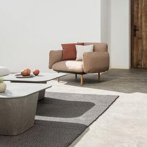 contemporary coffee table / concrete / square / outdoor