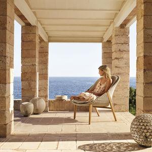contemporary armchair / Tricord® / teak / high-back