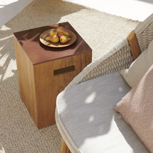 contemporary side table / lava / teak base / square
