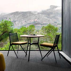 contemporary table / teak / wenge / cast aluminum