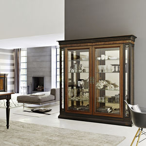 traditional display case / glass / walnut