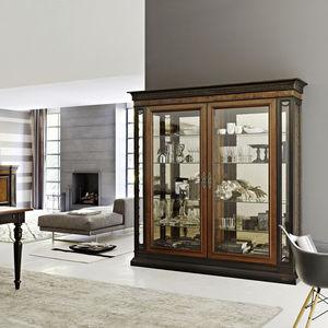 traditional display case / glass / walnut