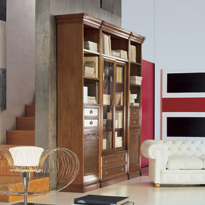 modular bookcase / traditional / solid wood / glass-front