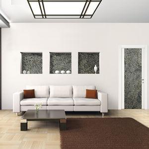 interior door / swing / solid wood / stone