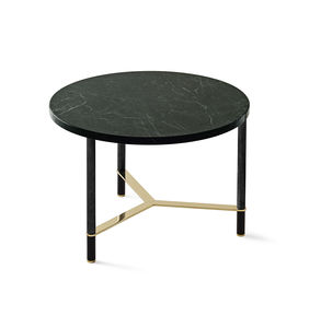 contemporary coffee table / wooden / marble / anodized aluminum base