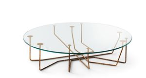 original design coffee table / glass / tempered glass / brass