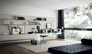 aluminum desk / stainless steel / glass / contemporary
