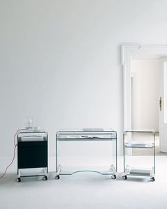 office service trolley / home / glass / stainless steel
