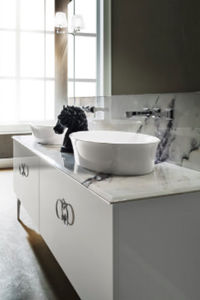 double washbasin cabinet / free-standing / MDF / metal