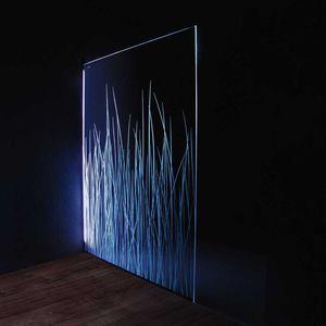 fixed shower screen / glass / illuminated / home
