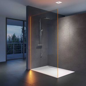 fixed shower screen / rectangular / glass / illuminated