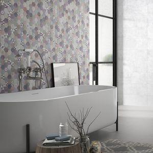 bathroom tiles / wall / ceramic / hexagonal