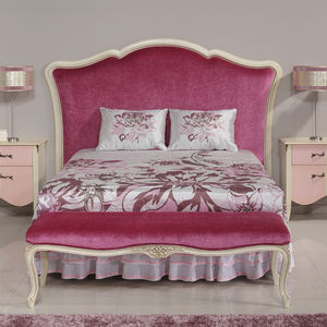 double bed headboard / traditional / fabric / lacquered wood