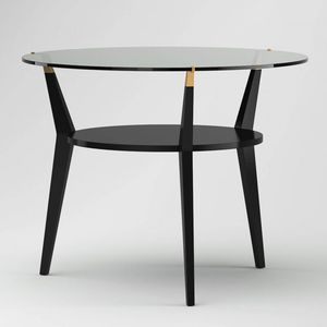 contemporary table / glass / lacquered wood base / round