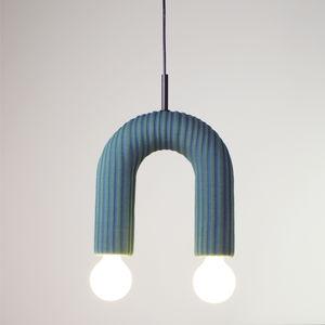 pendant lamp / minimalist design / fabric / ceramic