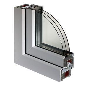 casement window / PVC / triple-glazed / thermally-insulated