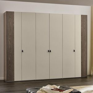 contemporary wardrobe / lacquered wood / folding door / with swing doors