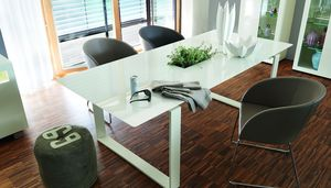 contemporary dining table / lacquered glass / powder-coated steel / stainless steel