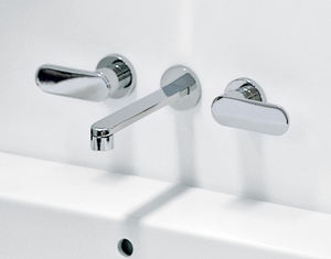 double-handle washbasin mixer tap / wall-mounted / brass / chromed metal