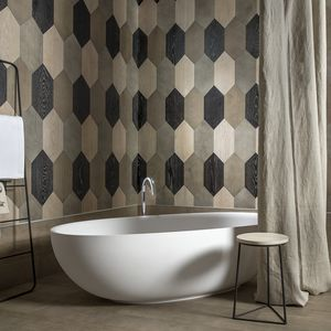 bathroom tiles / wall / wooden / hexagonal