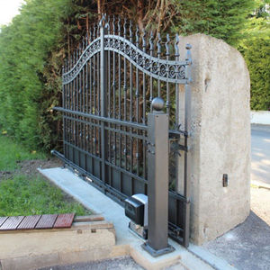 swing gate / wrought iron / with bars / home