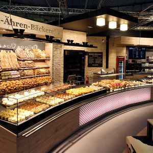 refrigerated display counter / illuminated / for restaurants / for bakeries