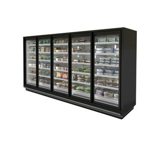 upright refrigerated display case / illuminated / ice cream / for frozen food