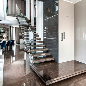 Straight staircase - LUXO: STONE - Officine Sandrini - quarter-turn /  half-turn / stainless steel frame