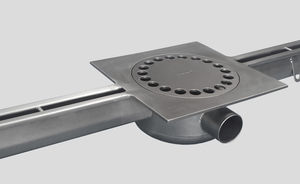 stainless steel drainage channel / with central slot / for kitchens / floor