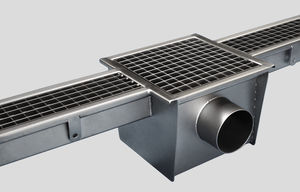 stainless steel drainage channel / with grating / for kitchens / floor