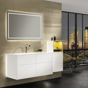 wall-mounted washbasin cabinet / lacquered wood / contemporary / with drawers