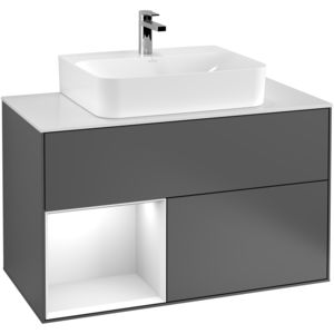 wall-hung washbasin cabinet / lacquered wood / contemporary / with drawers