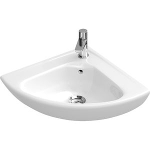 wall-mounted hand basin / corner / porcelain / commercial