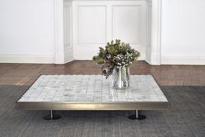 contemporary coffee table / steel / onyx / rectangular