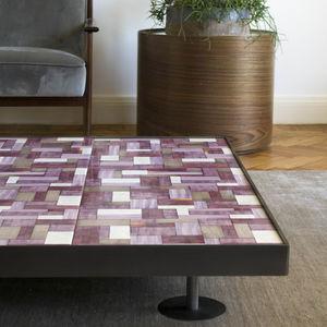 contemporary coffee table / steel / ceramic / square