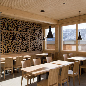 plywood decorative panel / wall-mounted / perforated