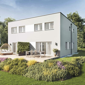 duplex house / contemporary / concrete / energy-efficient