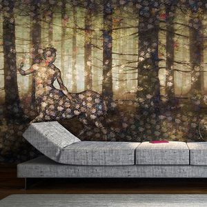 contemporary wallpaper / vinyl / polyester / floral pattern