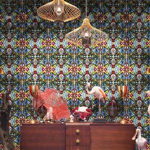 vintage wallpaper / vinyl / polyester / floral