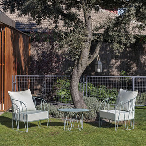 contemporary armchair / galvanized steel / with removable cushion / blue