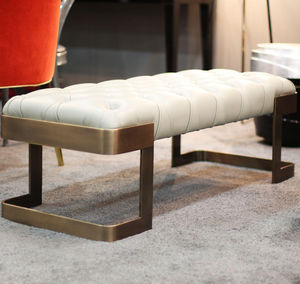 traditional upholstered bench / leather / polished brass / white