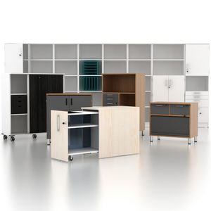 wooden office unit