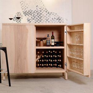contemporary bar cabinet / walnut / oak / ash